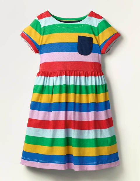 Fun Jersey Dress - Multi Rainbow Stripe