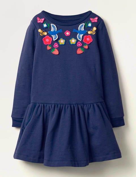 Bequemes Kleid mit Applikation - Schuluniform-Navy
