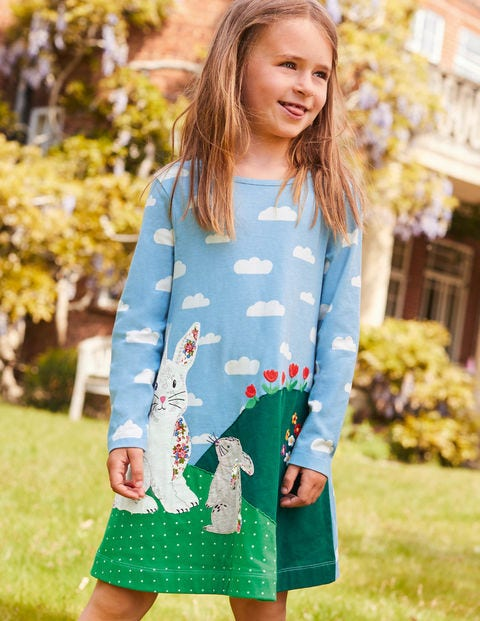 Big Appliqué Jersey Dress - Frosted Blue Bunnies