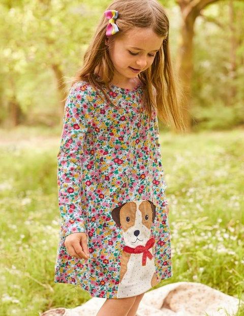 Jerseykleid mit großer Applikation - Vintage-Blumenmuster, Sprout