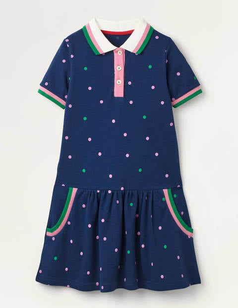 Spotty Polo Jersey Dress - College Blue Spot