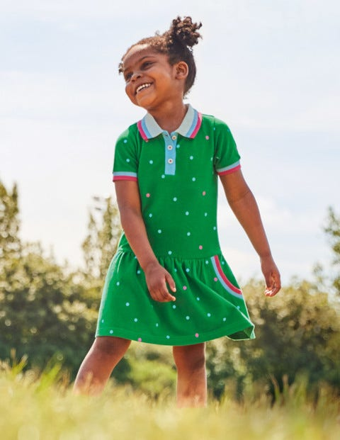Spotty Polo Jersey Dress - Highland Green Spot