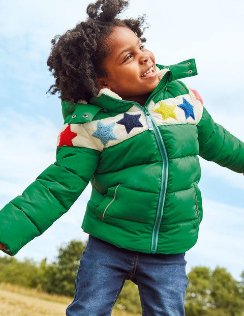 Cosy Padded Jacket - Highland Green Stars