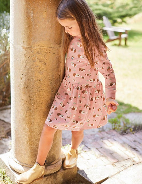 Jersey Printed  Dress - Chalky Pink Guinea Pigs