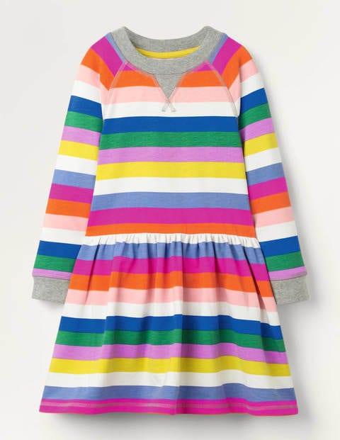 Jersey Printed Dress - Brilliant Blue Multistripe
