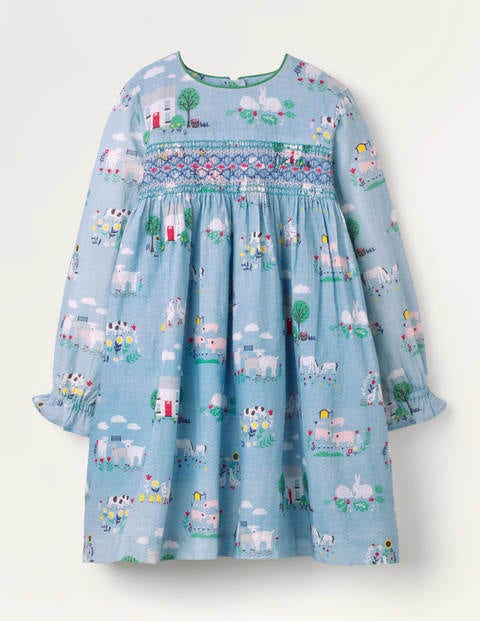 Smocked Dress - Blue Farmhouse