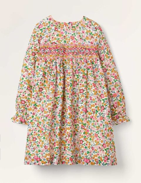 Smocked Dress - Multi Vintage Floral