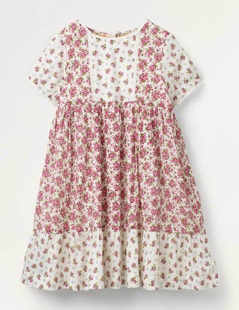 Robe à motif floral vintage - Motif Vintage Posy ivoire/prune