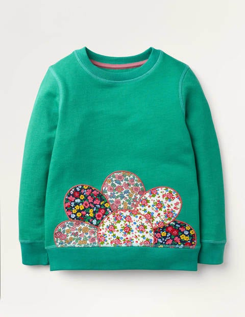 Appliqué Snuggly Sweatshirt - Asparagus Green Flower
