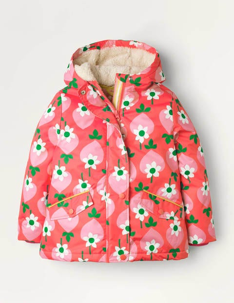 Sherpa-lined Anorak - Pale Red Geo Strawberry