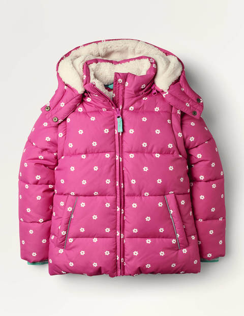 Cosy 2 in 1 Padded Jacket - Tickled Pink Geo Flower