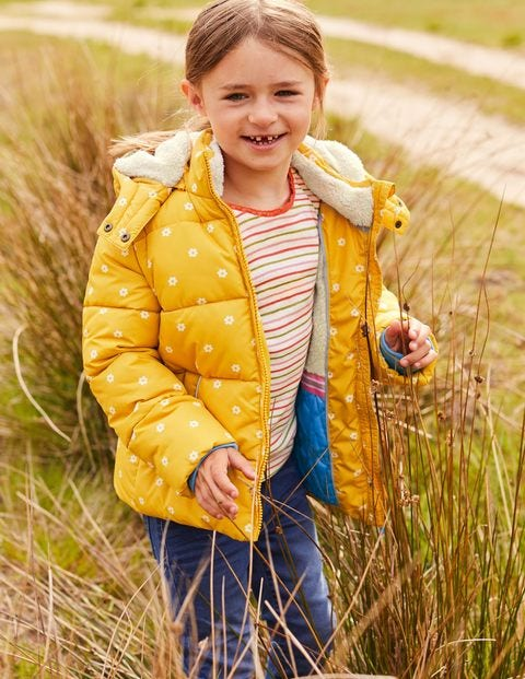 Cosy 2 in 1 Padded Jacket - Honeycomb Yellow Geo Flower