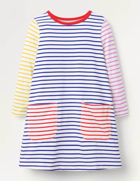 Fun Pocket Jersey Dress - Ivory/ Brilliant Blue