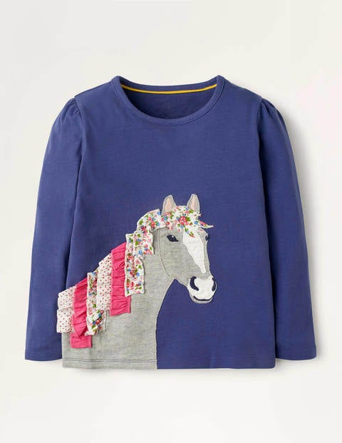 Ruffle Appliqué T-shirt - Starboard Blue Horse