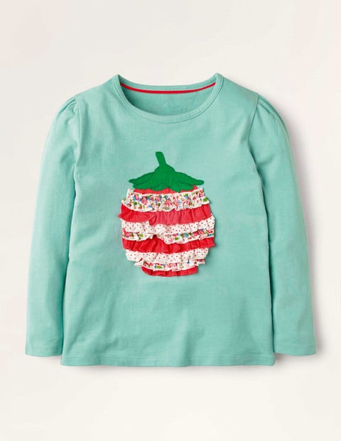 Ruffle Appliqué T-shirt - Orkney Green Strawberry