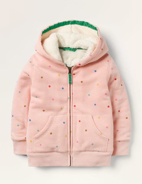 Shaggy-lined Hoodie - Provence Dusty Pink Multi Spot