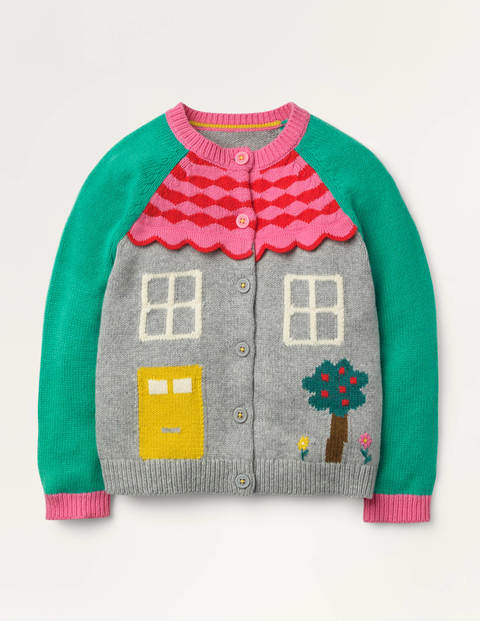 Fun House Cardigan - Grey Marl House