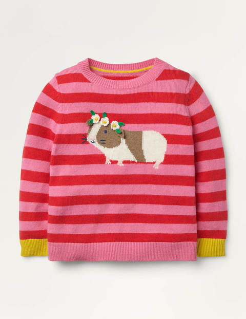 Guinea Pig Stripy Jumper - Formica Pink/ Poppy Red