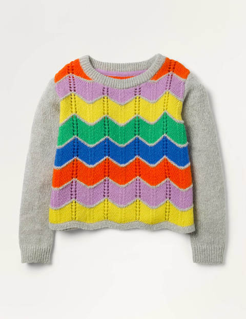 Rainbow Chevron Sweater - Grey Marl Rainbow