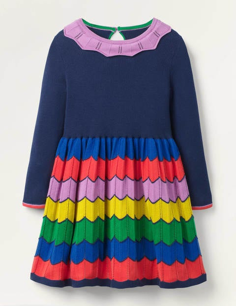 Colourful Knitted Dress - College Navy Rainbow