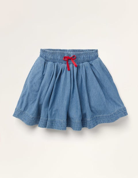 Woven Twirly Skirt - Light Vintage Denim