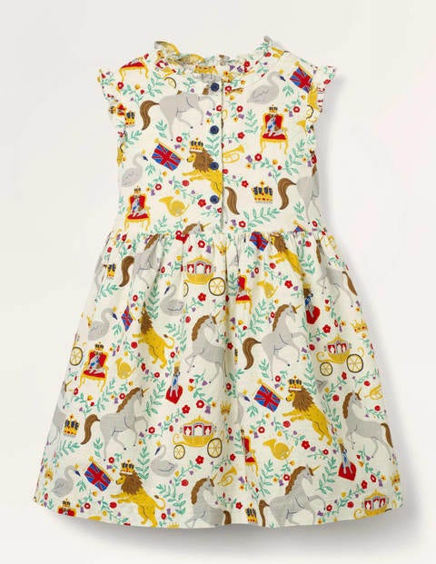 Crown Printed Bow Dress - Ivory Great British
