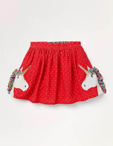 Fun Frill Appliqué Skirt - Rockabilly Red Unicorn