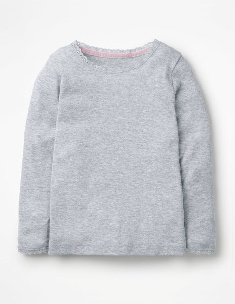 Supersoft Pointelle T-shirt - Grey Marl