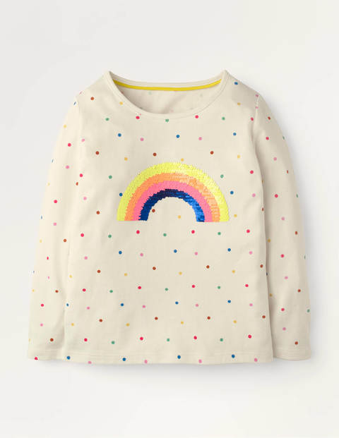 Colour-change Sequin T-shirt - Ivory Confetti Spot Rainbow