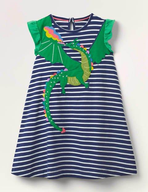 Flutter Sleeve Appliqué Dress