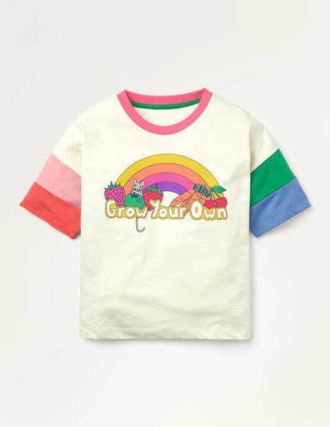 Rainbow Sleeve T-shirt - Ivory Grow Your Own