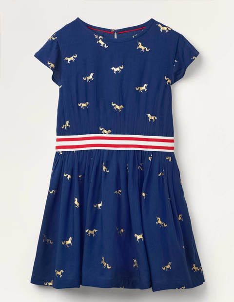 Foil Printed Waistband Dress - College Navy/Gold Unicorn