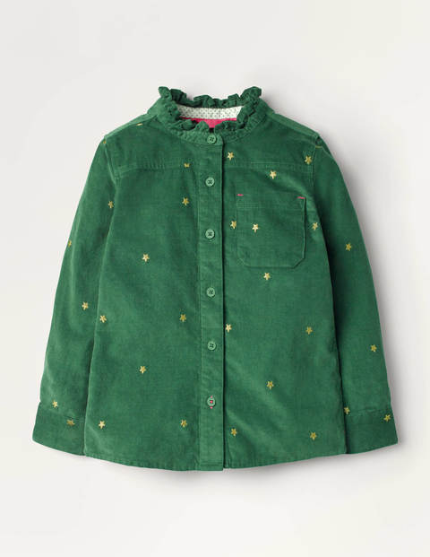 Frill Neck Embroidered Shirt - Rosemary