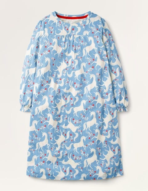 Printed Long-sleeved Nightie - Blue Unicorn Floral