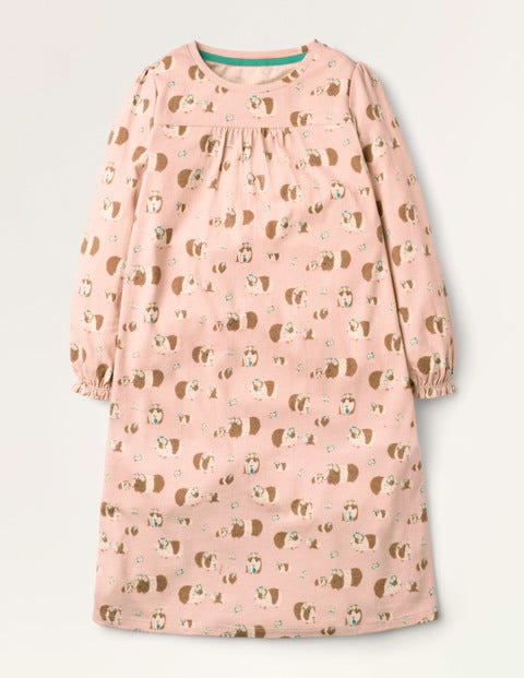 Printed Long-sleeved Nightgown - Dusty Pink Guinea Pigs