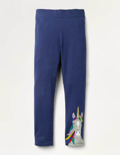 Fun Appliqué Leggings - College Navy Unicorn