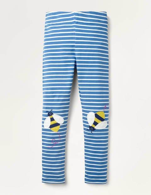 Fröhliche Leggings mit Applikation - Elisabethanisches Blau, Bienenknie