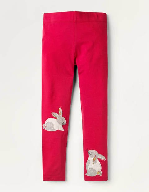 Fun Appliqué Leggings - Summer Berry Pink Bunnies