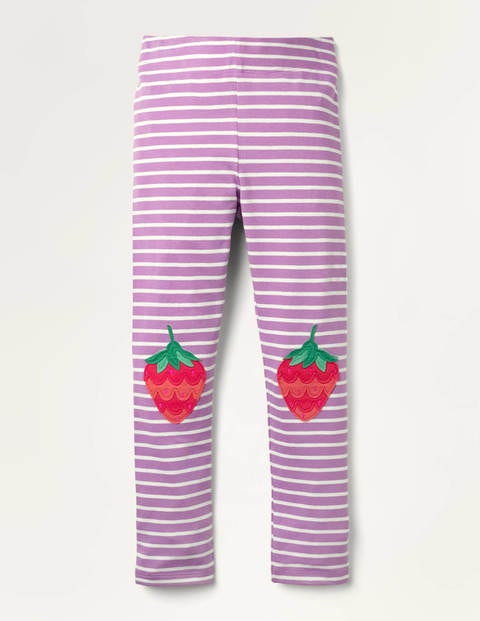 Fun Appliqué Leggings - Lupin Purple Strawberry Knees