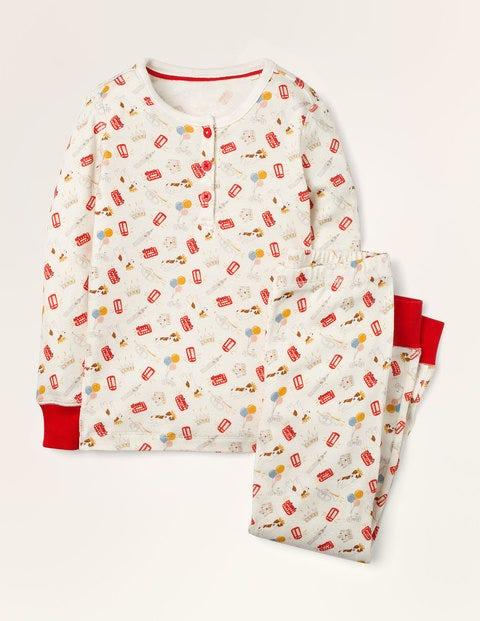 Snug Henley Pyjama Set - Ivory Royal Sprout