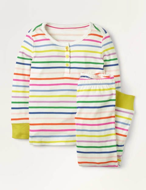 Snug Henley Pyjama Set - Shocking Pink Multistripe