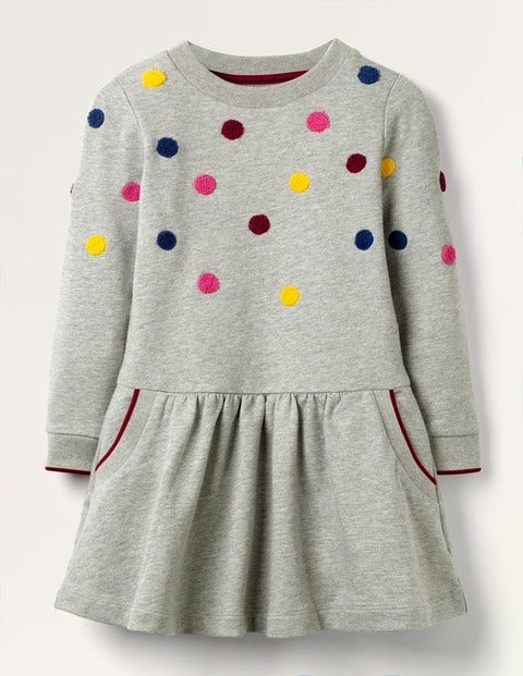 Cosy Mini Me Sweatshirt Dress - Grey Marl Spot