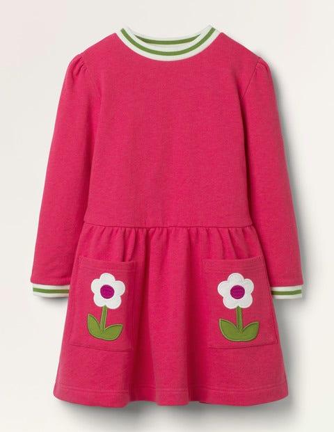 Appliqué Pocket Dress - Summer Berry Pink