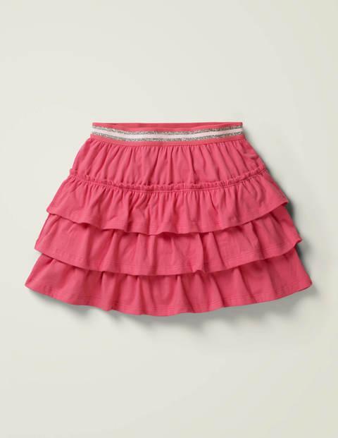 Jersey Ruffle Skort - Tickled Pink/White Stripe