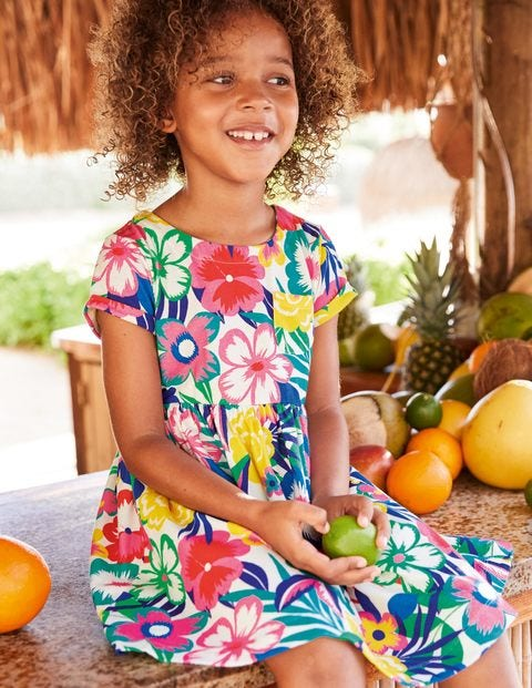 Fun Jersey Dress - Multi Tropical Bloom