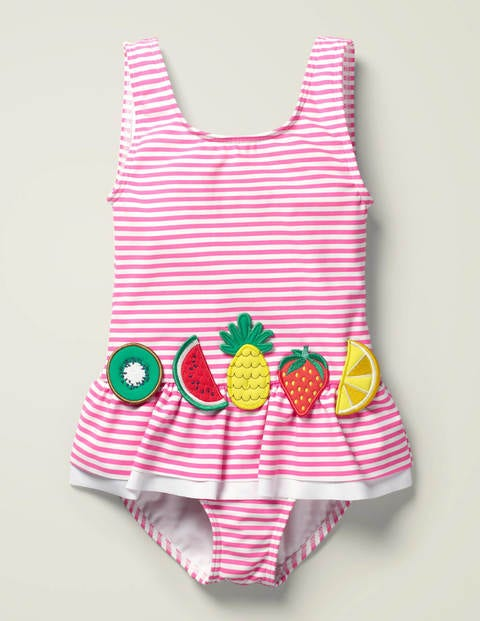 Novelty Appliqué Swimsuit - Sweet Pink/ Ivory Fruit