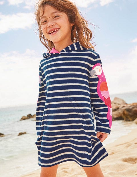 Fun Towelling Beach Dress - College Navy/White Parrots