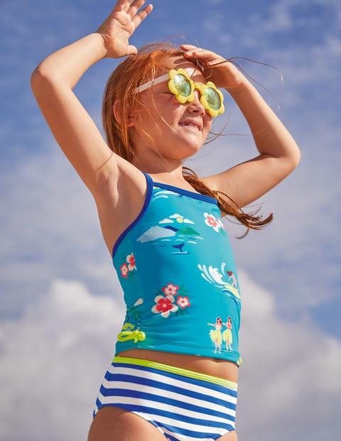 Gemusterte Bikinihose - Kräftiges Blau/Naturweiß