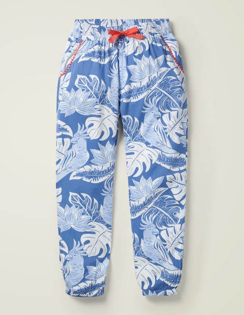 Relaxed Woven Trousers - Sky Blue Etched Parakeet Palm