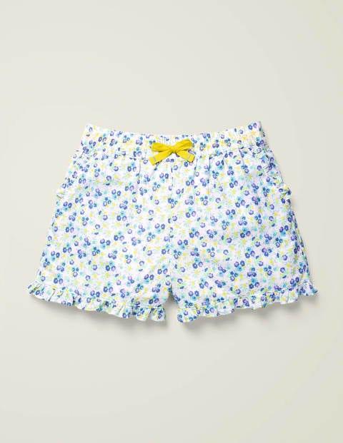 Frill Hem Shorts - Sky Blue Vintage Floral